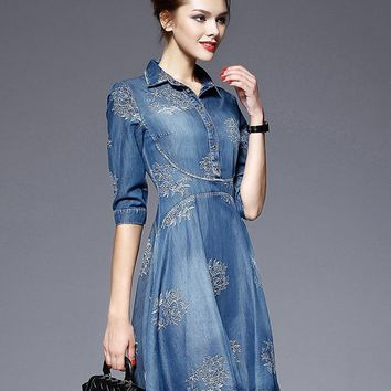 5XL Summer New Brand Women High Quality Jeans Dress Vintage Embroidery Bodycon Plus Size Turn Down Collor Half Sleeve Dresses