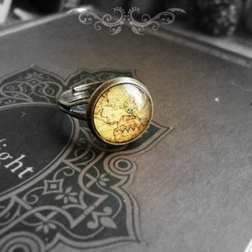 Upcycled Vintage Map Ring by SugarrNdSpice on Etsy
