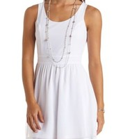 Heart Cut-Out Chiffon Skater Dress by Charlotte Russe - White