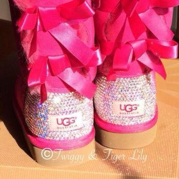 CHEN1ER Princess Pink Ugg Bailey Bows with Swarovski Crystal Embellishment - Princess Pink Bai