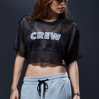 Sweat Crew Football Warm Up Cropped Mesh Top - Womens Tee - Black