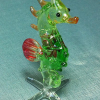 Hand Blown Glass Seahorse Sea Animal Cute Green Orange White Figurine Miniature Statue Decoration Collectible Small Tiny Craft Hand Painted