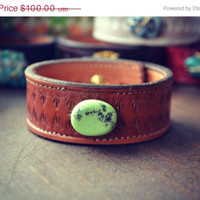 ON SALE LUX Bohemian Brown Recycled Stamped Earthy Leather Green Polished Turquoise Gemstone Cuff