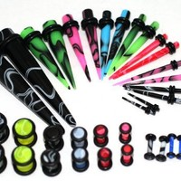 36pc Ear Stretching Kit Color Marble Plugs and Color Tapers 00g 0g 2g 4g 6g 8g 10g 12g 14g Gauges Plus Instructions