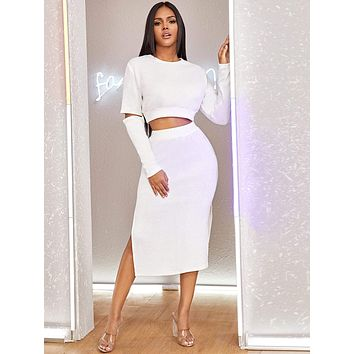 Cut-out Crop Sweater & Slit Hem Skirt Set