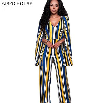 YJSFG HOUSE V-Neck Sleeveless Cape Rompers Womens Jumpsuit 2017 High Waist Backless Sexy Long Bodysuit Women Striped Overalls