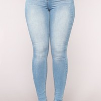 Eye Catcher High Rise Skinny Jeans - Light Blue Wash