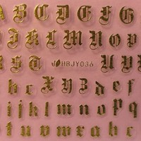 Nail Art 3d Decal Stickers Alphabet Letters Gold Hbjy036 | eBay