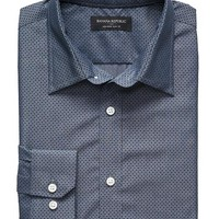 Banana Republic Mens Factory Slim Fit Non Iron Chambray Dot Shirt
