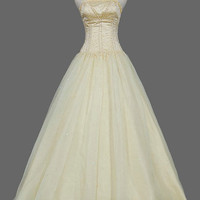 A-line  Strapless Floor-length  Satin  Organza Wedding Dresses With Lace  Beading