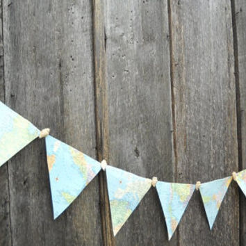 Nautical Paper Map Bunting, Atlas Banner, Party Decoration, Starfish & Sea Shells