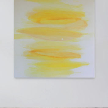 Abstract White and Yellow Painting, Contemporary Wall Art