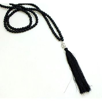New design Hot stone beads Buddha pendant handmade tassel pendant necklace boho style knotted necklace summer women jewelry