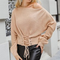 Lace Up Knitted Pullover Sweater Women Elastic Long Sleeve Jumper Casual Knitting Pullovers