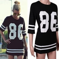 New 2015 Summer-autumn Women Celebrity Oversized 86 American Baseball Tee T Shirt Top half Sleeve Casual Dress, Black&White M, L, XL = 1931675396