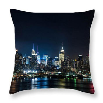 New York Lights Throw Pillow. Dark Blue Pillow Cover. Dark New York Cushion. New York Skyline Cushion. New York Photo Art for Home Decor.