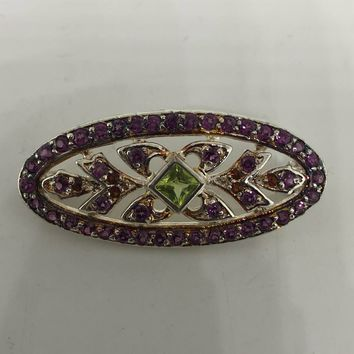 Vintage Handmade Genuine peridot  925 Sterling Silver Rhodium Bar Brooch
