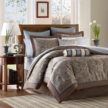 Madison Park Whitman 12-pc. Paisley Bed Set (Blue)