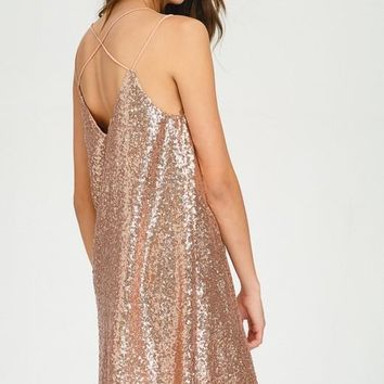 Dance All Night Sequined Dress - Blush Pink