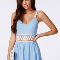 Missguided - Ranae Crochet Trim Strappy Romper Blue