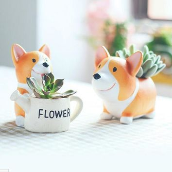 Resin Flowerpot Kawaii Corgi Garden Pots Planters Jardin Bonsai Desk Succulent Flower Pot Can Mix Order Dropshipping