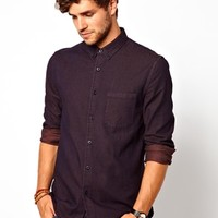 ASOS Denim Shirt In Long Sleeve With Overdye