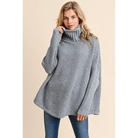 Oversized Cowl Neck Sweater - Charcoal