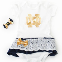 READY TO SHIP Baby Girl Notre Dame, Football University Theme Dress with Lace Ruffles