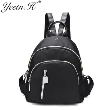 Yeetn.H women black fashion small shoulder bag Oxford solid colorful zipper school bag for teenager high quality book bags M3342