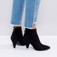 New Look Suedette Cone Heeled Ankle Boot at asos.com