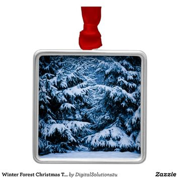 Winter Forest Christmas Tree Metal Ornament