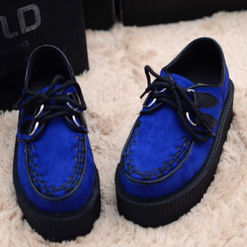 Fashion vintage casual lace up us flag leopard print skull suede leather high flat platform flatform oxford shoes for women 2013