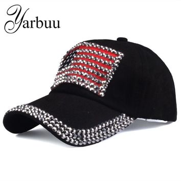Trendy Winter Jacket [YARBUU ]Brand cap 2017 new fashion high quality baseball cap for women and men rhinestone denim caps hip hop snapback hat AT_92_12