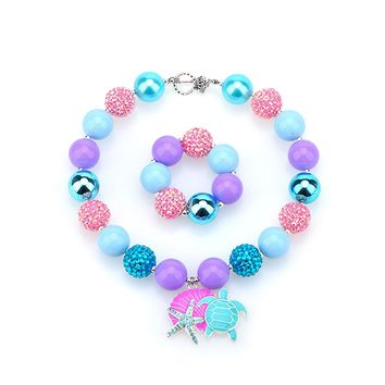 Sea Turtle Chunky Necklace Seashell Bubblegum Baby Jewelry Birthday Party Gifts