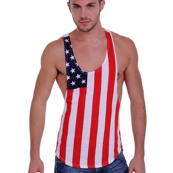 Men's USA Flag Tank Top Racer Back American Muscle Shirt: