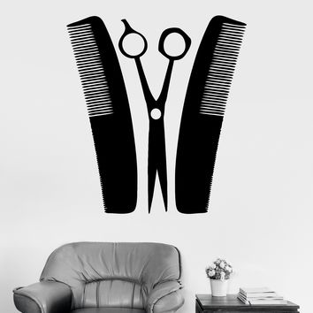 Vinyl Wall Decal Barber Hairdresser Tools Hair Salon Stickers Unique Gift (ig4012)