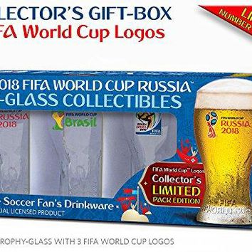 Collectible of 4 FIFA World Cup Trophy-glass/Set of 4 with 3  logos