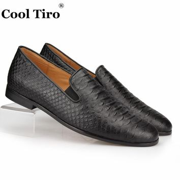 Cool Tiro Black Python Loafers Mens Slippers Moccasins