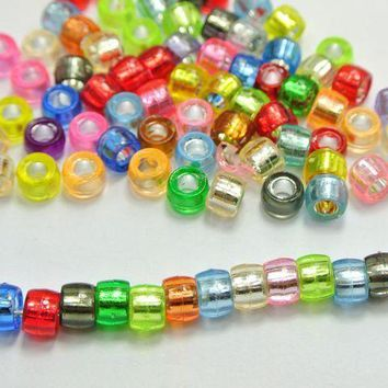 500 Mixed Color Silver Foil Hole Pony Barrel Beads 6X4mm for Kandi Bracelets Crafts Kids
