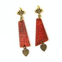 Asymmetric Earrings - Red Dangle Geometric Textured Metal Fleur de Lis Post Jewelry