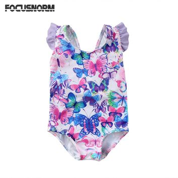 Kids Baby Girls Butterfly Printed Flying Sleeves Swimwear Swimming Costume One Piece Swimsuit