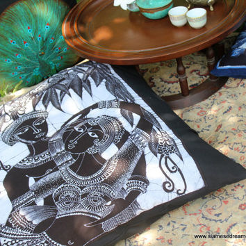 Boho Floor Pillow In Sri Lankan Hand Drawn Batik Black And White Extra Large Cushion
