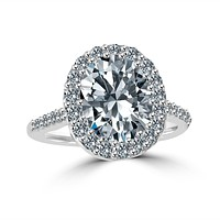 3 CT.(10x8mm) Intensely Radiant Oval Center Diamond Veneer Cubic Zirconia with Halo Pave Set Sterling Silver with Rhodium Electro-Plate Ring. 635R0245