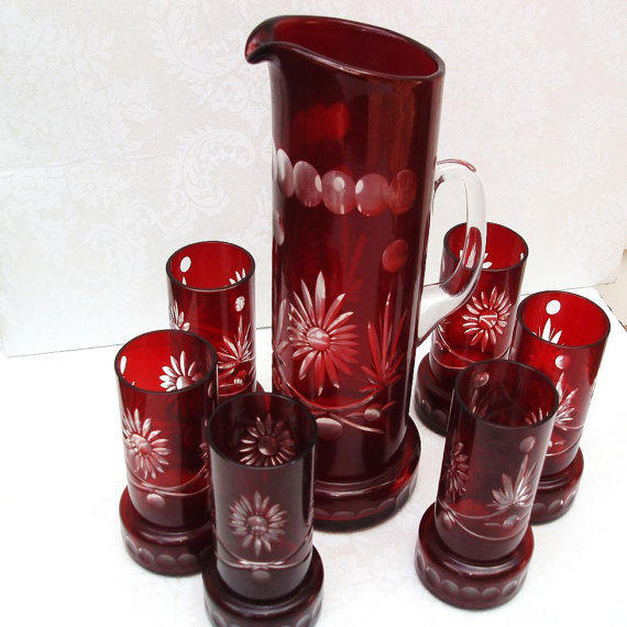 Antique Cut Glass Ruby Red Glass Pitcher from Whimzy Thyme