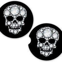 Car Coasters Bling Look Sugar Skulls , Cup Holder Coaster, Diamond Look Skulls Gift, Faux Rhinestones Gift for Her