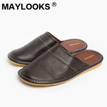 Spring Autumn Slip On Men Slippers Soft Comfortable 100% Cow Leather Handmade Stitches Black Brown Genuine Leather Shoes  tb008
