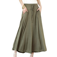 SK82 Celebrity Style Women Pocket Long Maxi Skirt Pleated Modal Cotton Casual Ladies Drawstring Skirts 2016 Free Drop Shipping