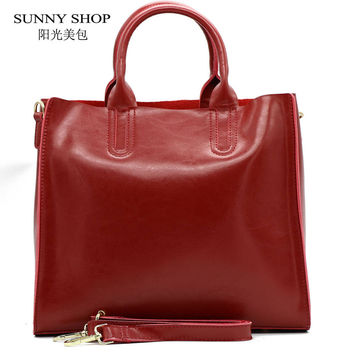 SUNNY SHOP  Autumn  Fashion 100%  Genuine Leather Women Shoulder Bag European Brand Designer Real Leather Bag Shopping Handbag
