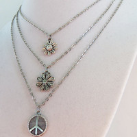 Custom charm necklace with metal chain and hippie charm peace sign daisy or sunflower with custom sizing
