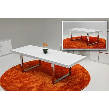 A&X Skyline White Gloss Extendable Dining Table
